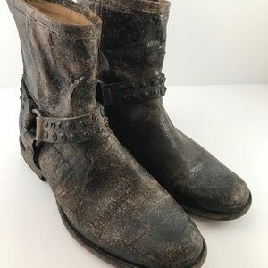 Frye distressed harness ankle boots